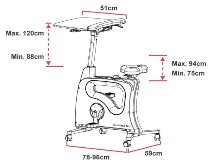 Yo-Yo Desk Bike Dimensions