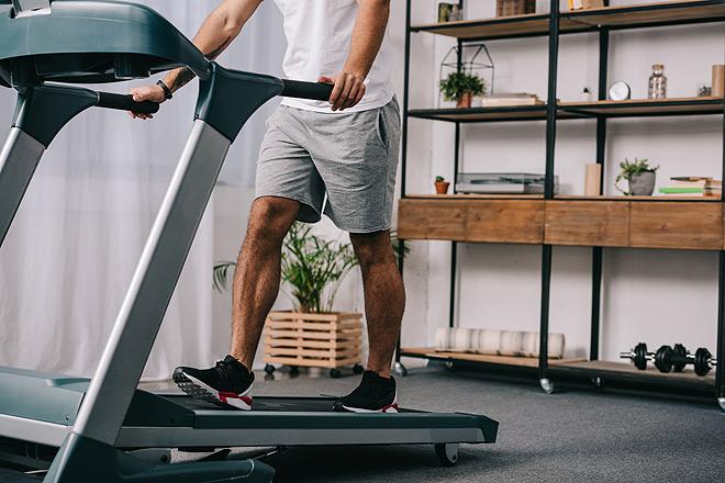 Man walking for 30 minutes on treadmill