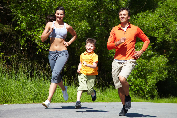 Family jogging together