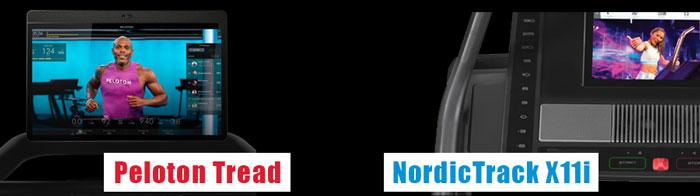 Peloton Treadmill vs NordicTrack X11i - display