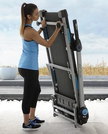 A folding treadmill