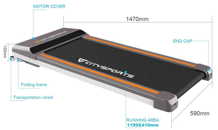 Citysports Folding Motorised Treadmill Stats