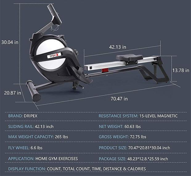 Dripex Rowing Machine Specs
