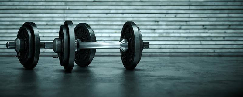 Dumbbells on gym floor