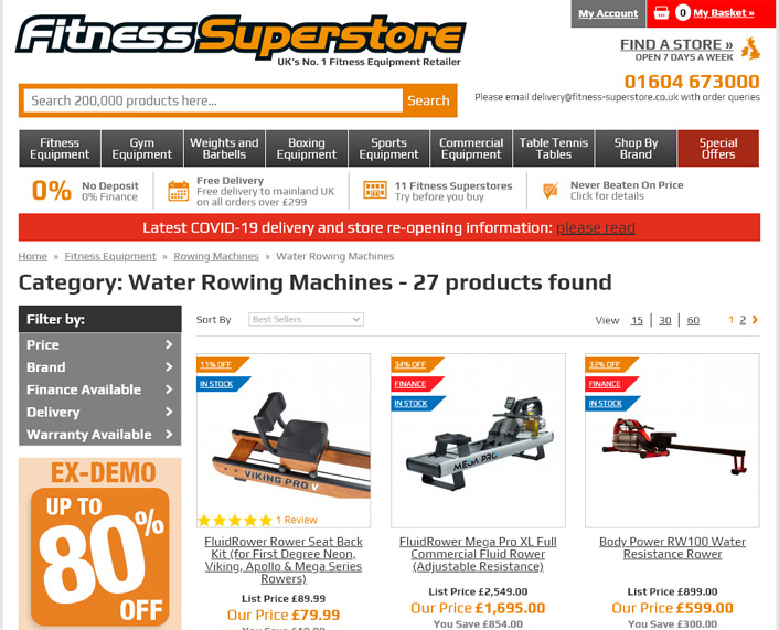 Fitness Superstore Rowers page
