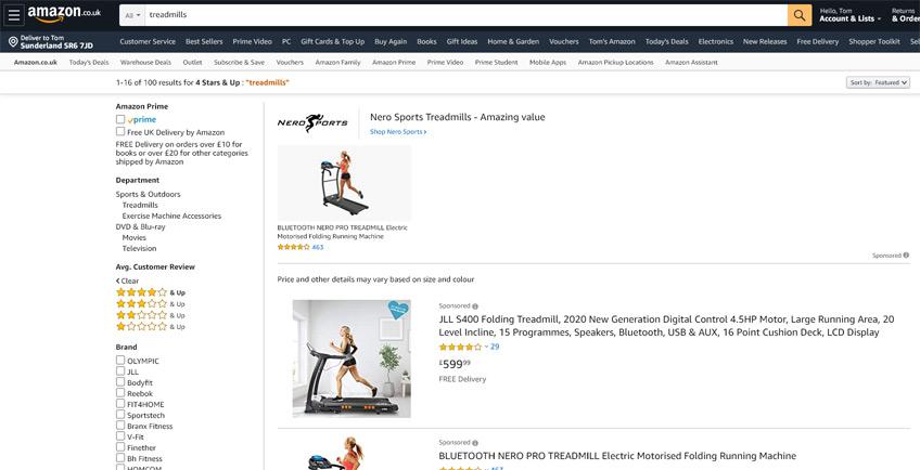Treadmills in stock at Amazon